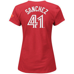 Women Ladies Toronto Blue Jays Red Alternate Aaron Sanchez Name Number T Shirt - Bleacher Bum Collectibles, Toronto Blue Jays, NHL , MLB, Toronto Maple Leafs, Hat, Cap, Jersey, Hoodie, T Shirt, NFL, NBA, Toronto Raptors