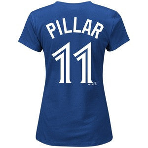 Women's Ladies Toronto Blue Jays Kevin Pillar Majestic Royal Name and Number T-Shirt - Bleacher Bum Collectibles, Toronto Blue Jays, NHL , MLB, Toronto Maple Leafs, Hat, Cap, Jersey, Hoodie, T Shirt, NFL, NBA, Toronto Raptors