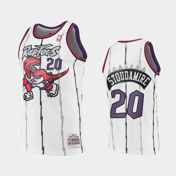 Men's Toronto Raptors Damon Stoudamire Mitchell & Ness White 1995-96 Hardwood Classics Swingman Jersey - Bleacher Bum Collectibles, Toronto Blue Jays, NHL , MLB, Toronto Maple Leafs, Hat, Cap, Jersey, Hoodie, T Shirt, NFL, NBA, Toronto Raptors