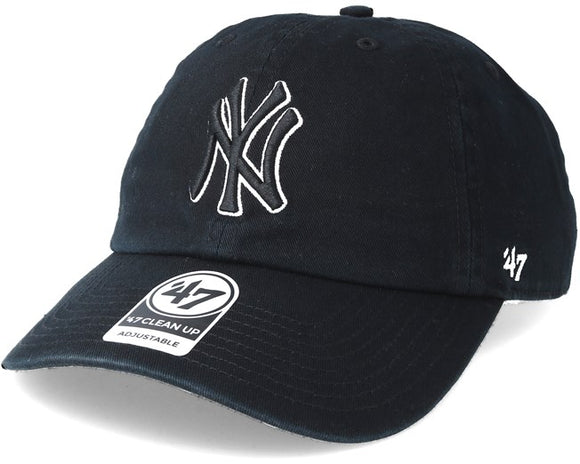 New York Yankees Adjustable Strap '47 Black White Black Clean Up Cap - Bleacher Bum Collectibles, Toronto Blue Jays, NHL , MLB, Toronto Maple Leafs, Hat, Cap, Jersey, Hoodie, T Shirt, NFL, NBA, Toronto Raptors