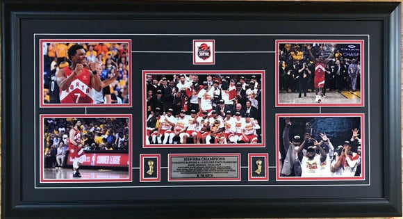 Toronto Raptors 2019 NBA Champions Various Pictures of Player Collage Framed with Pins and Plate