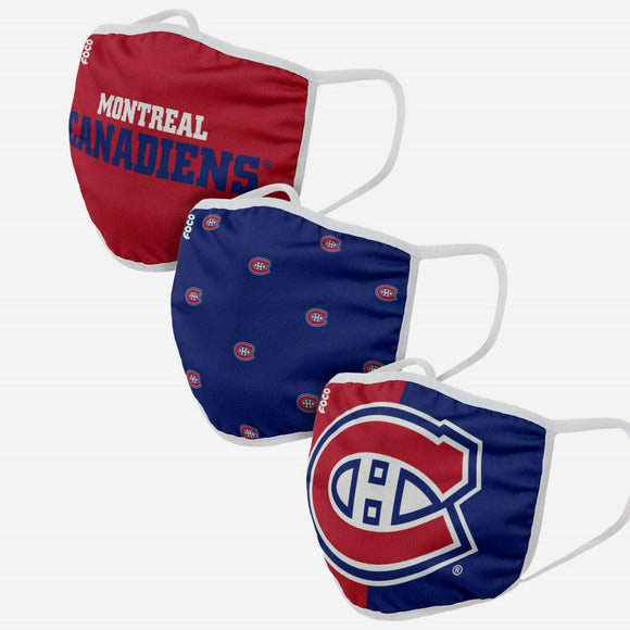 Youth Montreal Canadiens NHL Hockey Foco Pack of 3 Face Covering Mask