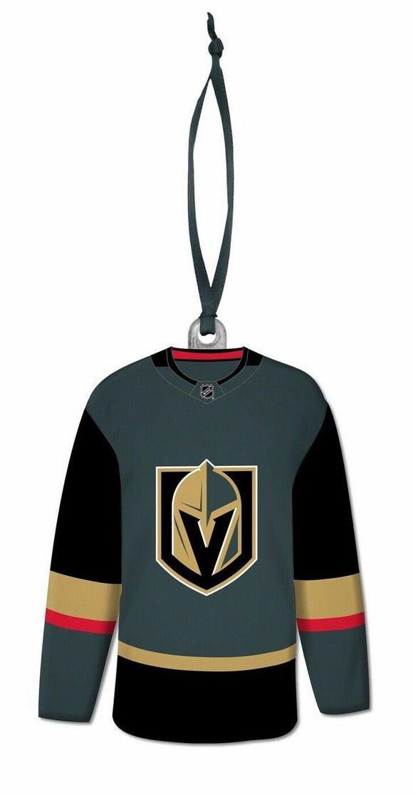 Vegas Golden Knights NHL Hockey Resin Jersey with Satin Ribbon Christmas Tree Ornament - Bleacher Bum Collectibles, Toronto Blue Jays, NHL , MLB, Toronto Maple Leafs, Hat, Cap, Jersey, Hoodie, T Shirt, NFL, NBA, Toronto Raptors