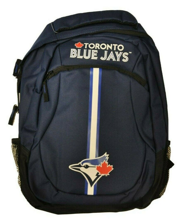 Toronto Blue Jays Action Stripe Pack Backpack Bag Made By Forever Collectibles - Bleacher Bum Collectibles, Toronto Blue Jays, NHL , MLB, Toronto Maple Leafs, Hat, Cap, Jersey, Hoodie, T Shirt, NFL, NBA, Toronto Raptors