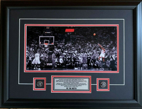 Toronto Raptors Kawhi Leonard Game 7 Buzzer Beater Full Court Spotlight 19x25 Framed - Bleacher Bum Collectibles, Toronto Blue Jays, NHL , MLB, Toronto Maple Leafs, Hat, Cap, Jersey, Hoodie, T Shirt, NFL, NBA, Toronto Raptors