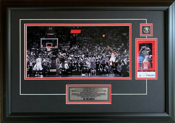 Toronto Raptors Kawhi Leonard Game 7 Buzzer Beater Full Court Spotlight 19x25 Framed With Ticket - Bleacher Bum Collectibles, Toronto Blue Jays, NHL , MLB, Toronto Maple Leafs, Hat, Cap, Jersey, Hoodie, T Shirt, NFL, NBA, Toronto Raptors