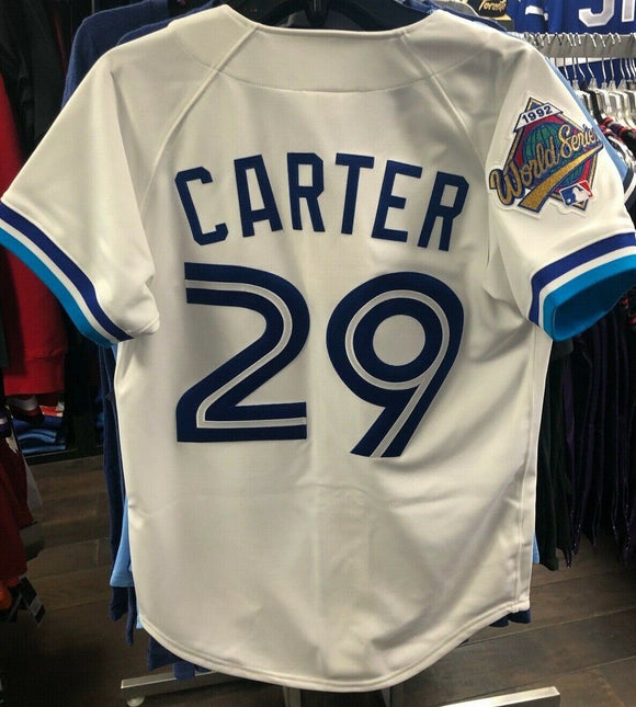 Men's Toronto Blue Jays Joe Carter Mitchell & Ness White Cooperstown Collection 1992 Authentic Jersey - Bleacher Bum Collectibles, Toronto Blue Jays, NHL , MLB, Toronto Maple Leafs, Hat, Cap, Jersey, Hoodie, T Shirt, NFL, NBA, Toronto Raptors