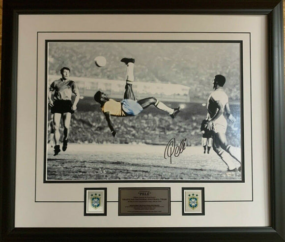 Pele Brazil National Team Autographed 16'' x 20'' Bicycle Kick Spotlight Framed Photograph - Signed in Black