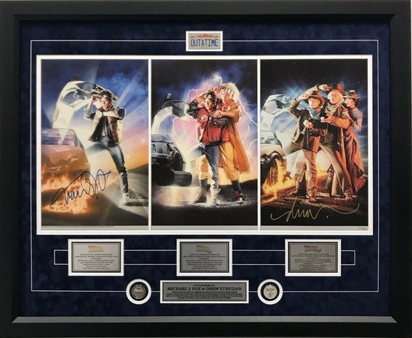 Back to The Future Trilogy Movie Poster Print Signed Michael J Fox Artist Framed - Bleacher Bum Collectibles, Toronto Blue Jays, NHL , MLB, Toronto Maple Leafs, Hat, Cap, Jersey, Hoodie, T Shirt, NFL, NBA, Toronto Raptors