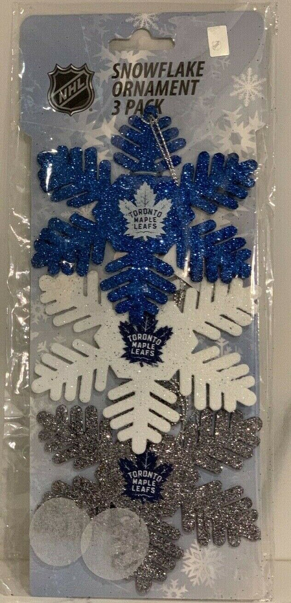 Toronto Maple Leafs 3 PackMetal Glitter Snowflake Christmas Tree Ornament NHL Hockey