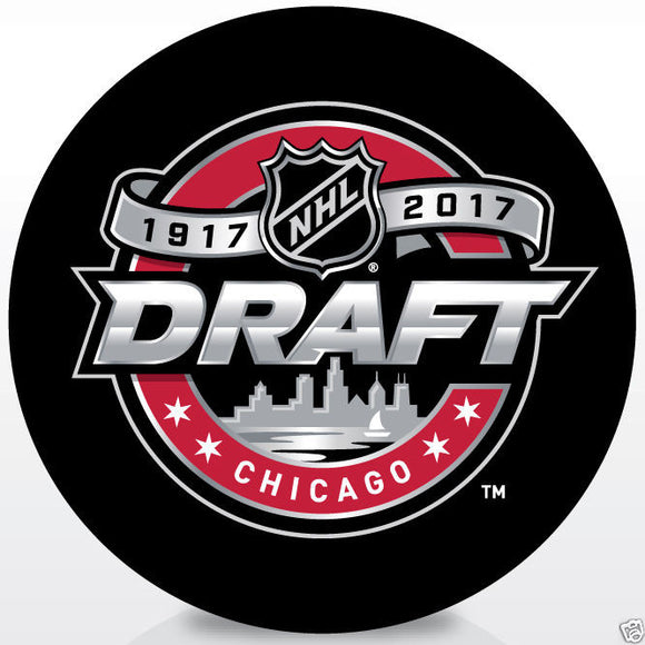2017 NHL Entry Level Hockey Draft Souvenir Puck - Chicago Illinois - Bleacher Bum Collectibles, Toronto Blue Jays, NHL , MLB, Toronto Maple Leafs, Hat, Cap, Jersey, Hoodie, T Shirt, NFL, NBA, Toronto Raptors