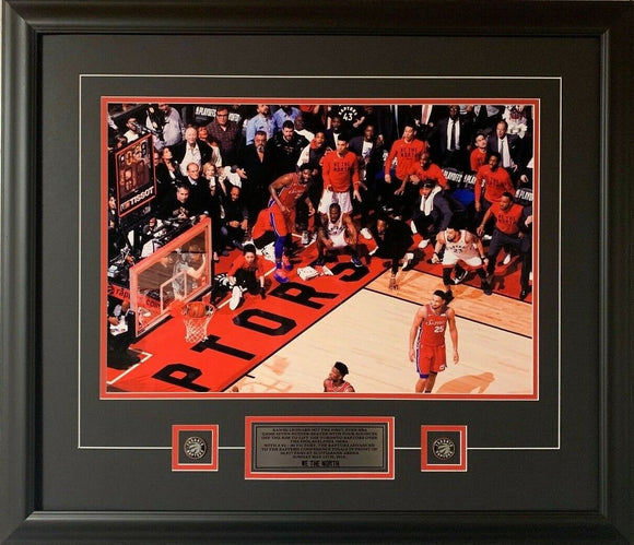 Toronto Raptors Kawhi Leonard Game 7 Buzzer Beater Shot in Colour 16x20 Picture Framed
