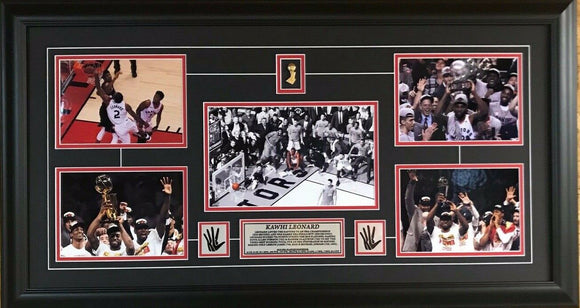 Toronto Raptors 2019 NBA Champions Various Pictures of Kawhi Leonard Collage Framed with Pins and Plate