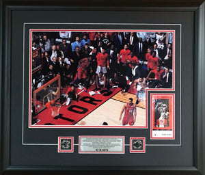 Toronto Raptors Kawhi Leonard Game 7 Buzzer Beater Shot in Colour 22x26 Picture Framed With Game 7 Ticket - Bleacher Bum Collectibles, Toronto Blue Jays, NHL , MLB, Toronto Maple Leafs, Hat, Cap, Jersey, Hoodie, T Shirt, NFL, NBA, Toronto Raptors