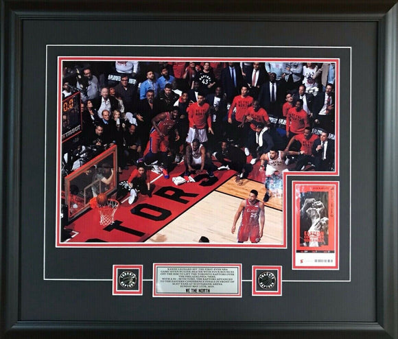 Toronto Raptors Kawhi Leonard Game 7 Buzzer Beater Shot in Colour 22x26 Picture Framed With Game 7 Ticket