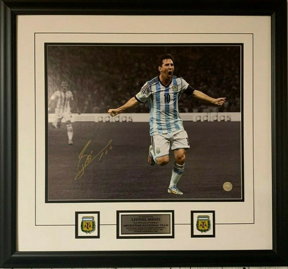 Lionel Messi Argentina National Team Autographed 16'' x 20'' Bicycle Kick Spotlight Framed Photograph - Signed in Gold