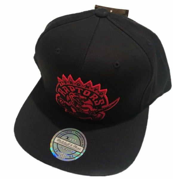Toronto Raptors Flex Fit Primary Red Logo  NBA Basketball Mitchell & Ness Black Snapback Hat