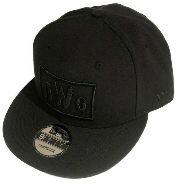 NWO New World Order Wolfpack WWE Wrestling New Era 9Fifty Adjustable Snapback Black on Black Hat Cap