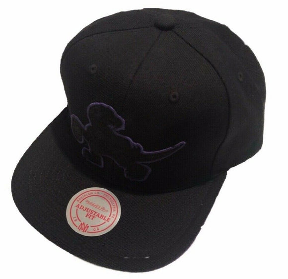 Toronto Raptors Pop Snap Retro Logo Purple Outlined NBA Basketball Mitchell & Ness Black Snapback Hat