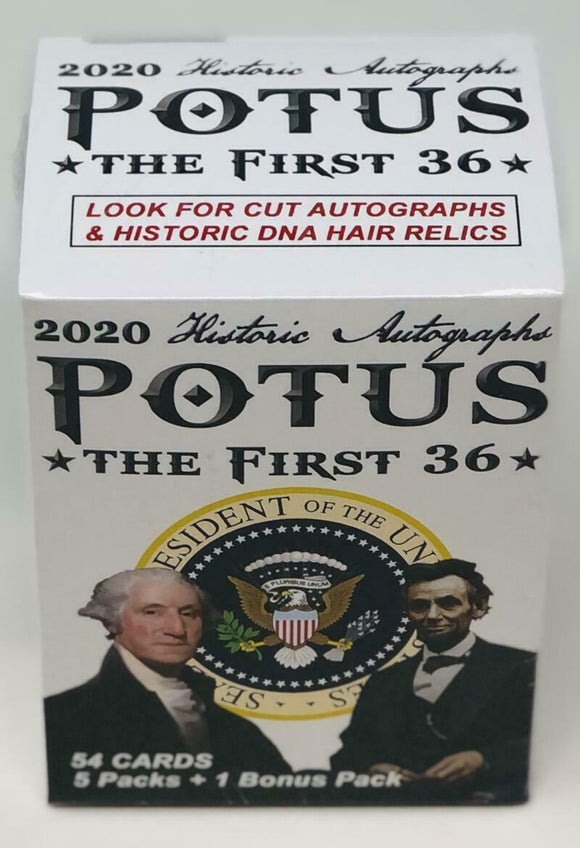 2020 Historic Autographs POTUS The First 36 Blaster Box 5 Packs + Bonus Pack Total 54 Cards