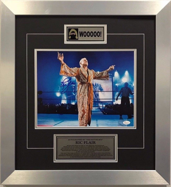 WWE Hall of Fame Superstar Ric Flair Signed Framed 22x20 Authenticated w/ COA - Bleacher Bum Collectibles, Toronto Blue Jays, NHL , MLB, Toronto Maple Leafs, Hat, Cap, Jersey, Hoodie, T Shirt, NFL, NBA, Toronto Raptors