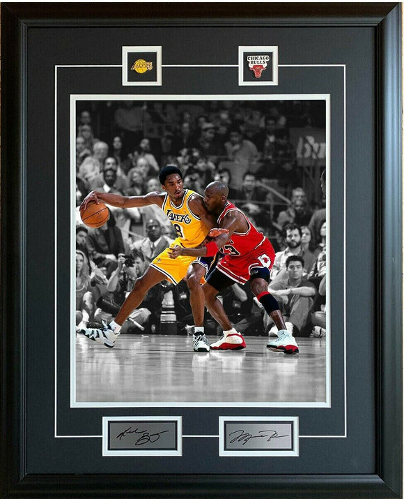 Michael Jordan Kobe Bryant Chicago Bulls Los Angeles Lakers 25x31 Spotlight Framed Dual Picture NBA Basketball