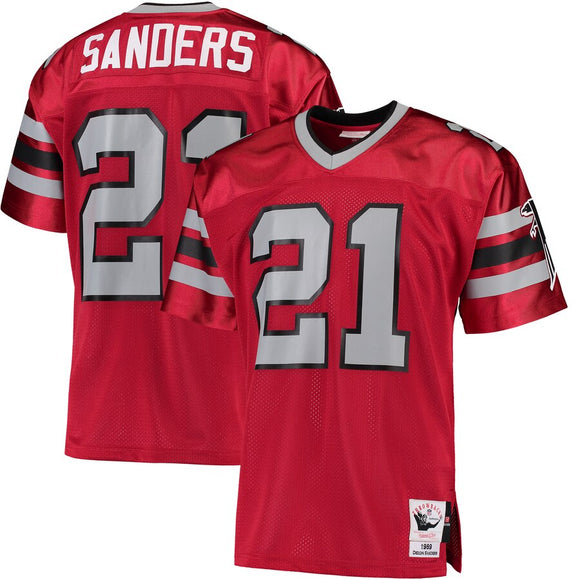 Men's Mitchell & Ness Deion Sanders Red Atlanta Falcons Retired Player Vintage - Replica Jersey - Bleacher Bum Collectibles, Toronto Blue Jays, NHL , MLB, Toronto Maple Leafs, Hat, Cap, Jersey, Hoodie, T Shirt, NFL, NBA, Toronto Raptors