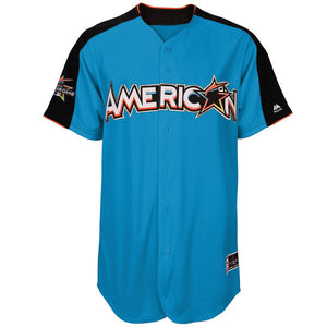 Men's American League Majestic Blue 2017 MLB All-Star Game Authentic On-Field Home Run Derby Team Jersey - Bleacher Bum Collectibles, Toronto Blue Jays, NHL , MLB, Toronto Maple Leafs, Hat, Cap, Jersey, Hoodie, T Shirt, NFL, NBA, Toronto Raptors