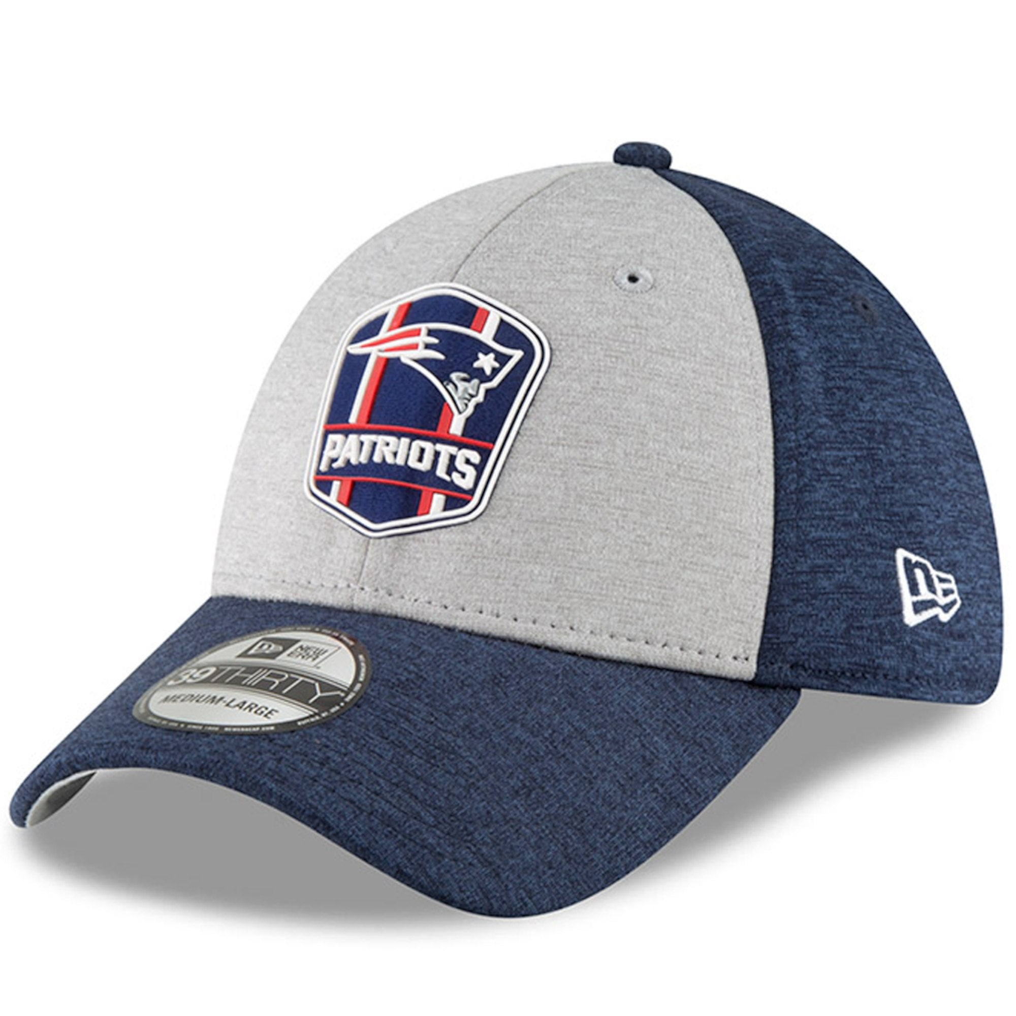 newest 1adc3 fc47e Men s New England Patriots New Era Heather Gray Navy 2018 NFL Sideline Road  Official 39THIRTY ...