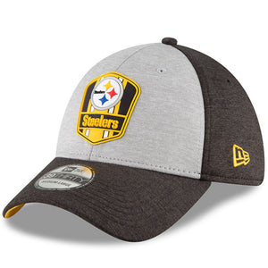 48930ff7f3c Men s Pittsburgh Steelers New Era Heather Gray Black 2018 NFL Sideline Road  Official 39THIRTY Flex