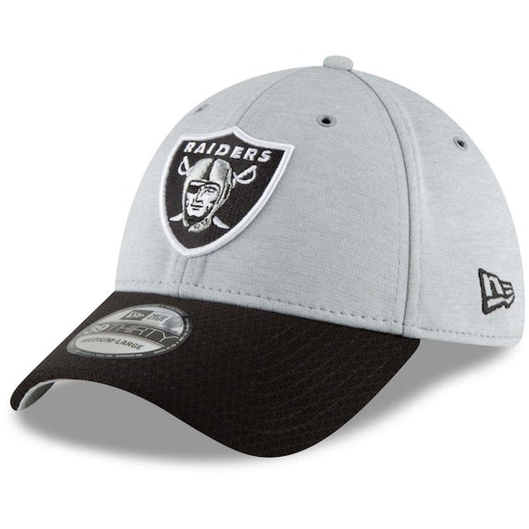 2023979cbb9 Men s New Era Heathered Gray Black Oakland Raiders Sideline Home Official -  39THIRTY Flex Hat