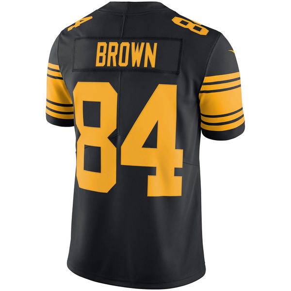 Men's Pittsburgh Steelers Antonio Brown Nike Black Vapor Untouchable Color Rush Limited Player Jersey