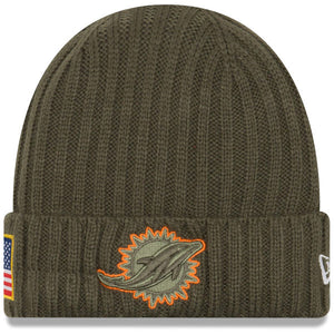 Men's Miami Dolphins New Era Olive 2017 Salute To Service Cuffed Knit Hat - Bleacher Bum Collectibles, Toronto Blue Jays, NHL , MLB, Toronto Maple Leafs, Hat, Cap, Jersey, Hoodie, T Shirt, NFL, NBA, Toronto Raptors