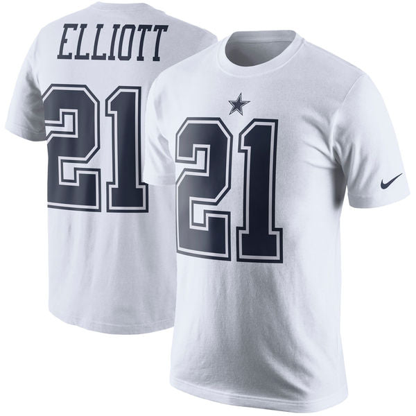finest selection 00aa5 75656 Men's Dallas Cowboys Ezekiel Elliott Nike White Color Rush Player Pride  Name & Number T-Shirt