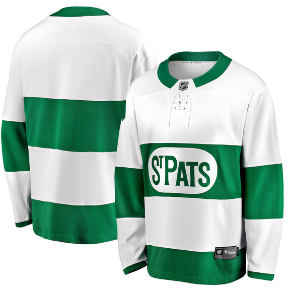 Men's Toronto St. Pats Fanatics Branded White Green Premier Breakaway - Jersey - Bleacher Bum Collectibles, Toronto Blue Jays, NHL , MLB, Toronto Maple Leafs, Hat, Cap, Jersey, Hoodie, T Shirt, NFL, NBA, Toronto Raptors