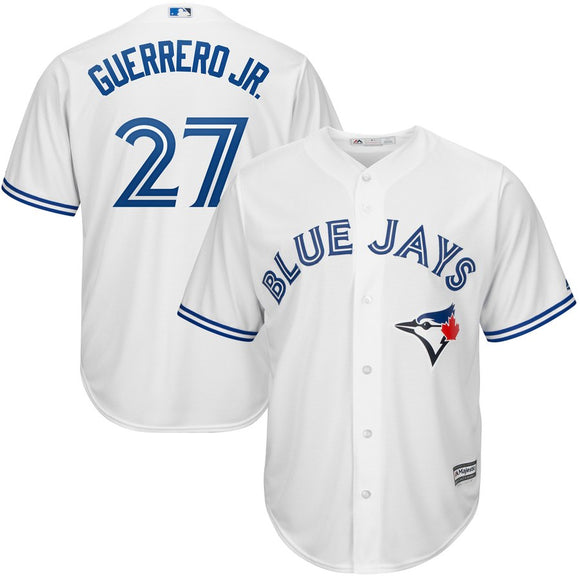 Men's Toronto Blue Jays Vladimir Guerrero Jr Majestic White Cool Base Home Player Jersey - Bleacher Bum Collectibles, Toronto Blue Jays, NHL , MLB, Toronto Maple Leafs, Hat, Cap, Jersey, Hoodie, T Shirt, NFL, NBA, Toronto Raptors