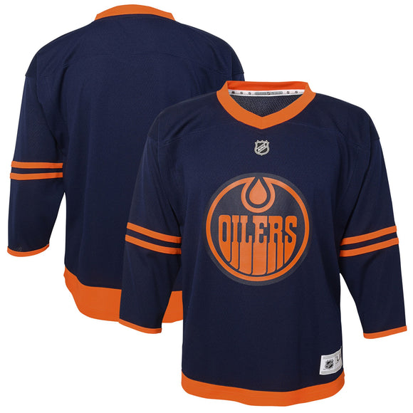 Edmonton Oilers NHL Hockey Navy Alternate Replica Premier Jersey - Infant, Toddler, Child & Youth Sizes - Bleacher Bum Collectibles, Toronto Blue Jays, NHL , MLB, Toronto Maple Leafs, Hat, Cap, Jersey, Hoodie, T Shirt, NFL, NBA, Toronto Raptors