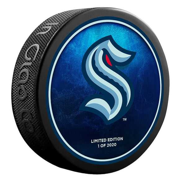 Seattle Kraken Fanatics Authentic Unsigned Inglasco Team Logo Hockey Puck - Limited Edition of 2020 - Fanatics Exclusive