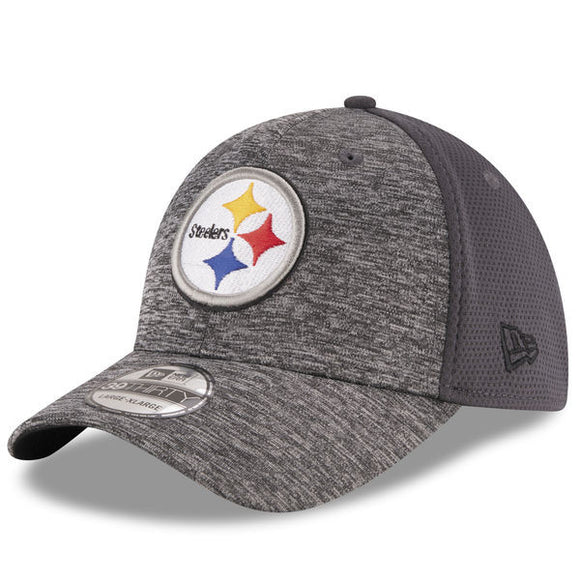 49a412958 Men s Pittsburgh Steelers New Era Heathered Gray Graphite Shadowed Team  39THIRTY Flex Hat - Bleacher
