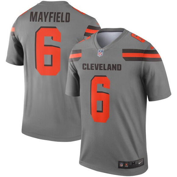 Men's Nike Baker Mayfield Gray Cleveland Browns Inverted Legend - Jersey - Bleacher Bum Collectibles, Toronto Blue Jays, NHL , MLB, Toronto Maple Leafs, Hat, Cap, Jersey, Hoodie, T Shirt, NFL, NBA, Toronto Raptors