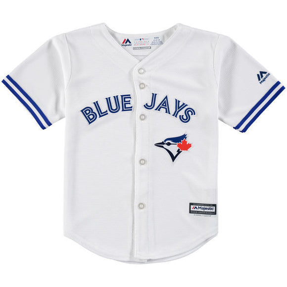 Child Toronto Blue Jays Majestic White Home Cool Base Jersey - Bleacher Bum Collectibles, Toronto Blue Jays, NHL , MLB, Toronto Maple Leafs, Hat, Cap, Jersey, Hoodie, T Shirt, NFL, NBA, Toronto Raptors