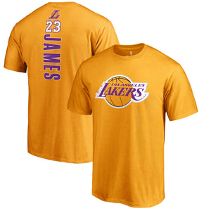 LeBron James Los Angeles Lakers Fanatics Branded Backer Name & Number T-Shirt – Gold - Bleacher Bum Collectibles, Toronto Blue Jays, NHL , MLB, Toronto Maple Leafs, Hat, Cap, Jersey, Hoodie, T Shirt, NFL, NBA, Toronto Raptors