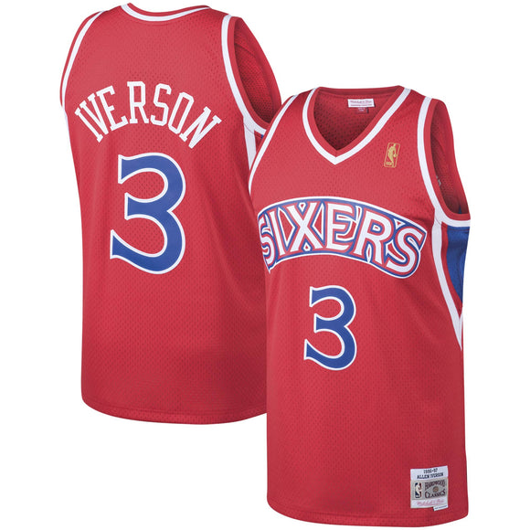 Men's Mitchell & Ness Allen Iverson Red Philadelphia 76ers Hardwood Classics 1996-97 Swingman - Jersey - Bleacher Bum Collectibles, Toronto Blue Jays, NHL , MLB, Toronto Maple Leafs, Hat, Cap, Jersey, Hoodie, T Shirt, NFL, NBA, Toronto Raptors