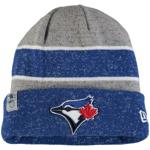 Men's Toronto Blue Jays New Era Heathered Gray/Heathered Royal On Field Sport Cuffed Knit Hat - Bleacher Bum Collectibles, Toronto Blue Jays, NHL , MLB, Toronto Maple Leafs, Hat, Cap, Jersey, Hoodie, T Shirt, NFL, NBA, Toronto Raptors