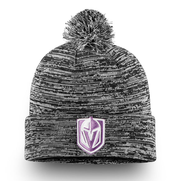 Vegas Golden Knights Fanatics Branded 2018 Hockey Fights Cancer Cuffed Knit Hat with Pom – Heathered Black - Bleacher Bum Collectibles, Toronto Blue Jays, NHL , MLB, Toronto Maple Leafs, Hat, Cap, Jersey, Hoodie, T Shirt, NFL, NBA, Toronto Raptors