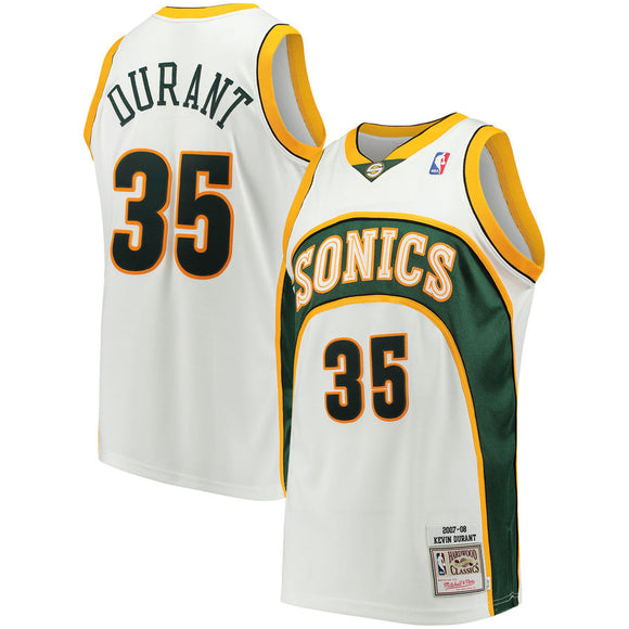 Men's Seattle SuperSonics Kevin Durant Mitchell & Ness White 2007-08 Hardwood Classics Swingman Jersey - Bleacher Bum Collectibles, Toronto Blue Jays, NHL , MLB, Toronto Maple Leafs, Hat, Cap, Jersey, Hoodie, T Shirt, NFL, NBA, Toronto Raptors