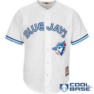 Toronto Blue Jays Majestic Cooperstown Cool Base Team Jersey - White - Bleacher Bum Collectibles, Toronto Blue Jays, NHL , MLB, Toronto Maple Leafs, Hat, Cap, Jersey, Hoodie, T Shirt, NFL, NBA, Toronto Raptors