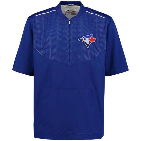 Men's Toronto Blue Jays Majestic Royal On-Field Training Half Zip Pullover Jacket - Bleacher Bum Collectibles, Toronto Blue Jays, NHL , MLB, Toronto Maple Leafs, Hat, Cap, Jersey, Hoodie, T Shirt, NFL, NBA, Toronto Raptors