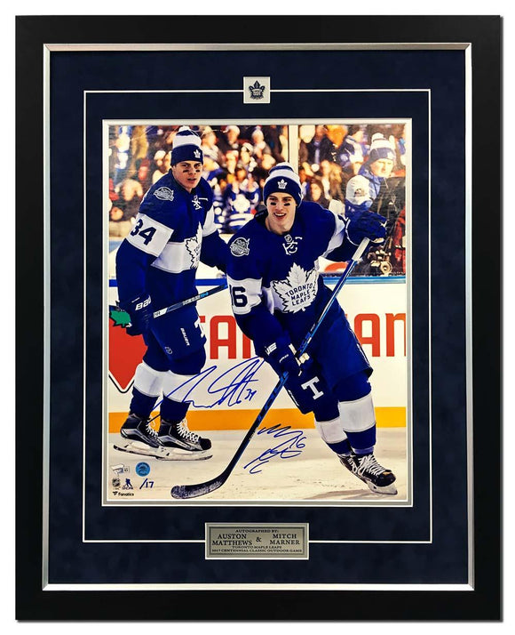 Mitch Marner & Auston Matthews Dual Signed Toronto Maple Leafs Centennial Classic Game 25x31 Picture Framed #/17 - Bleacher Bum Collectibles, Toronto Blue Jays, NHL , MLB, Toronto Maple Leafs, Hat, Cap, Jersey, Hoodie, T Shirt, NFL, NBA, Toronto Raptors