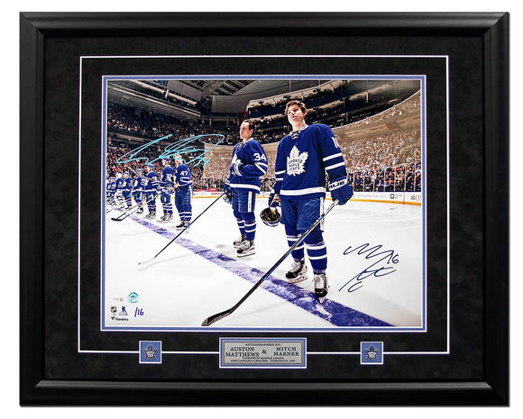 Mitch Marner & Auston Matthews Dual Signed Toronto Maple Leafs 25x31 Picture Framed #/16 - Bleacher Bum Collectibles, Toronto Blue Jays, NHL , MLB, Toronto Maple Leafs, Hat, Cap, Jersey, Hoodie, T Shirt, NFL, NBA, Toronto Raptors